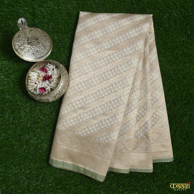 Off-white Pure Kora Silk by Cotton Banarasi Handloom Saree
