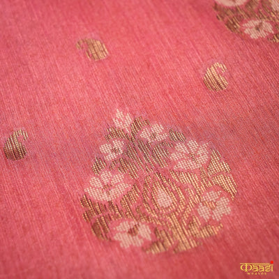 Orange-Rani Pink Cross Shade Pure Moonga Silk Handloom Banarasi Saree