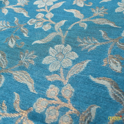 Peacock Blue Pure Moonga Silk Handloom Banarasi Saree