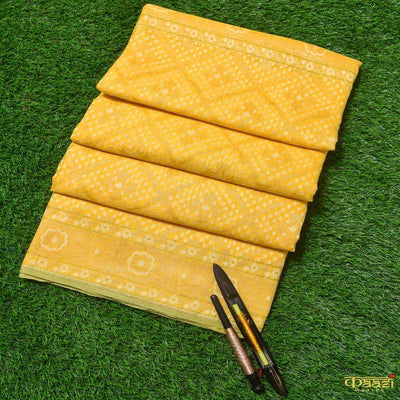 Sunflower Yellow Pure Tussar Silk by Cotton Handloom Banarasi Saree