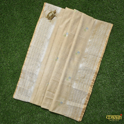 Beige Pure Tussar Silk by Cotton Handloom Banarasi Saree