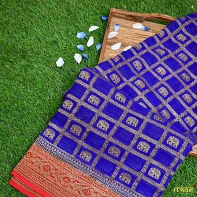 Royal Blue Pure Khaddi Chiffon Georgette Banarasi Handloom Saree
