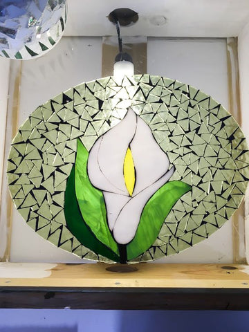 "alt=""step 12 of glass on acrylic mosaic of lily"""