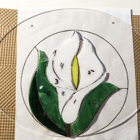 step 3 of glass on acrylic mosaic of lily