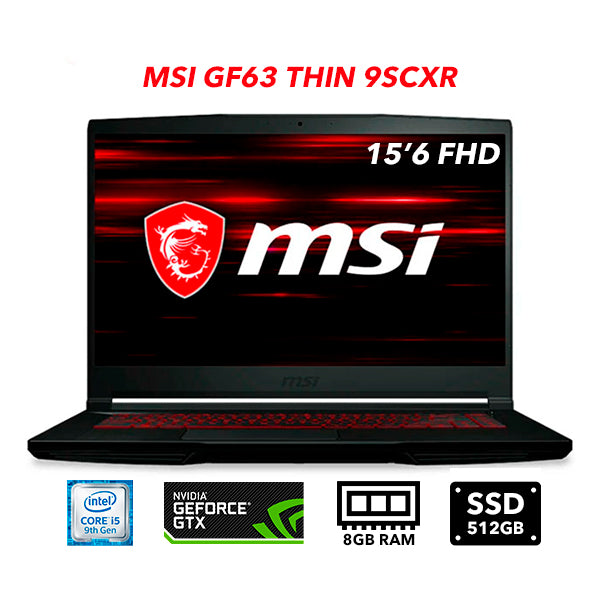 Laptor Gamer MSI GF63 9SCXR , I5 + GTX 1650 4 GB + RAM DDR4 8 GB + 512 GB SSD