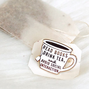 Read Books and Drink Tea Enamel Pin