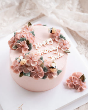 Load image into Gallery viewer, Bees and Blossoms Flower Cake