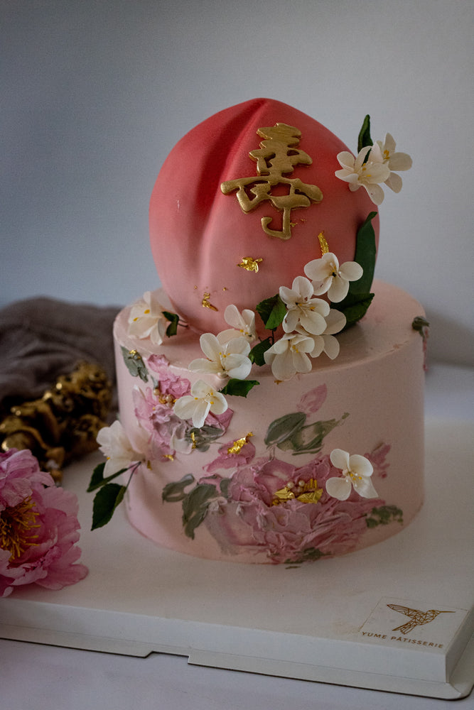 Load image into Gallery viewer, 2 Tier Longevity Peach Cake
