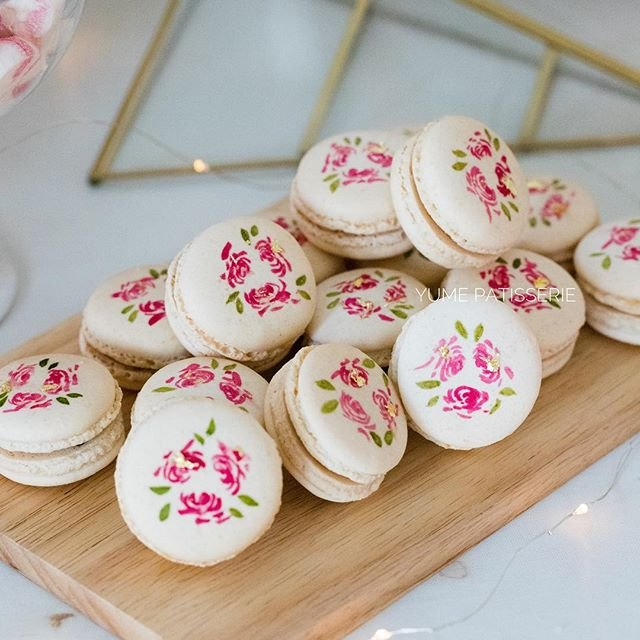 Hand Painted Floral Macarons box of 12