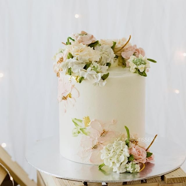 Handpainted Buttercream Floral Cake