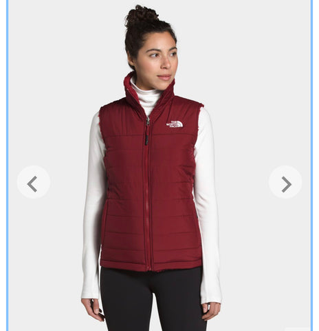 The North Face reversible vest in pomegranate