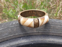 Load image into Gallery viewer, Vintage Brass and Bone Bangle Bracelet