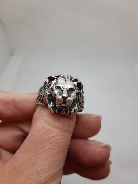 Old Sterling Ring,Lion Head Antique ring,Vintage Mans ring,Islamic Ring,Persian silver