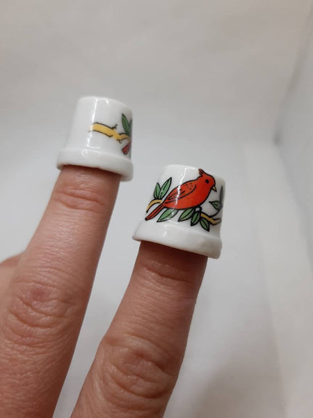 2 Set Bird Porcelain Thimbles Set,collectible thimbels,vintage porcelain thimble