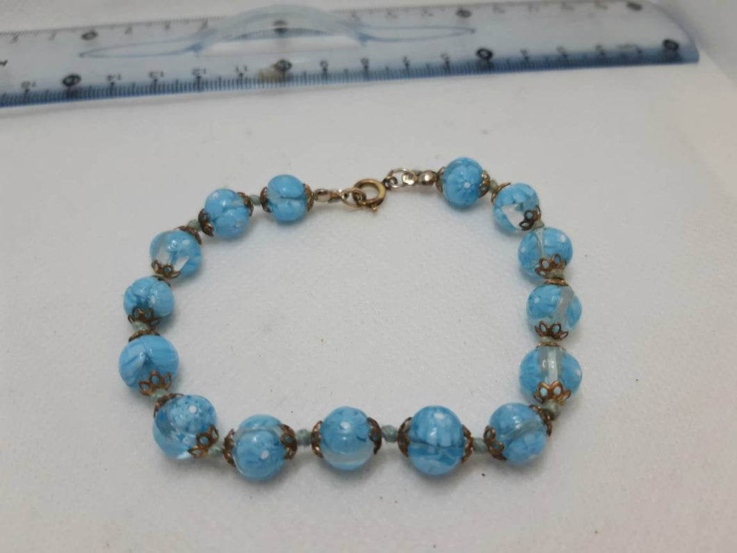 Blue Murano Glass Bracelet,Vintage  Beaded Bracelet