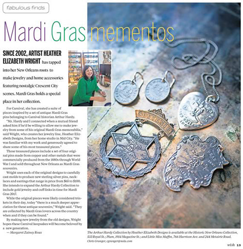 "Article from The Times Picayune WISH, ""Mardi Gras Mementos"", Feb 2016, featuring Heather's Arthur Hardy Mardi Gras Collection"