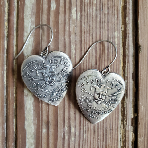 Mardi Gras Heart Earrings
