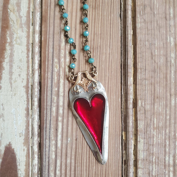 Heart & Lovebirds Necklace