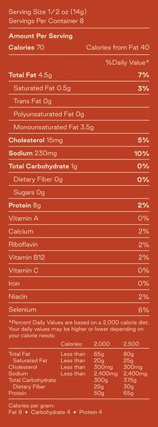 Spicy Dill Nutrition Facts:   Serving size 1/2 oz (14g). Servings per container: 8. Calories per serving: 70. Calories from fat: 40. Total fat per serving: 4.5g and 7% of daily value. 0.5g saturated fat per serving or 3% of daily value. 0g trans fat per serving. 0g of polyunsaturated fat per serving. 3.5g of monounsaturated fat. 15mg of cholesterol per serving or 5% of daily value. 230mg of sodium per serving or 10% of daily value. <1g of total carbohydrates per serving or 0% of daily value. 0g of dietary fiber. 0g of sugars. 8g of protein per serving or 2% of daily value. 2% daily value of calcium, vitamin B12, niacin, and riboflavin. 6% daily value of selenium. Percent daily values are based on a 2000 calorie diet.