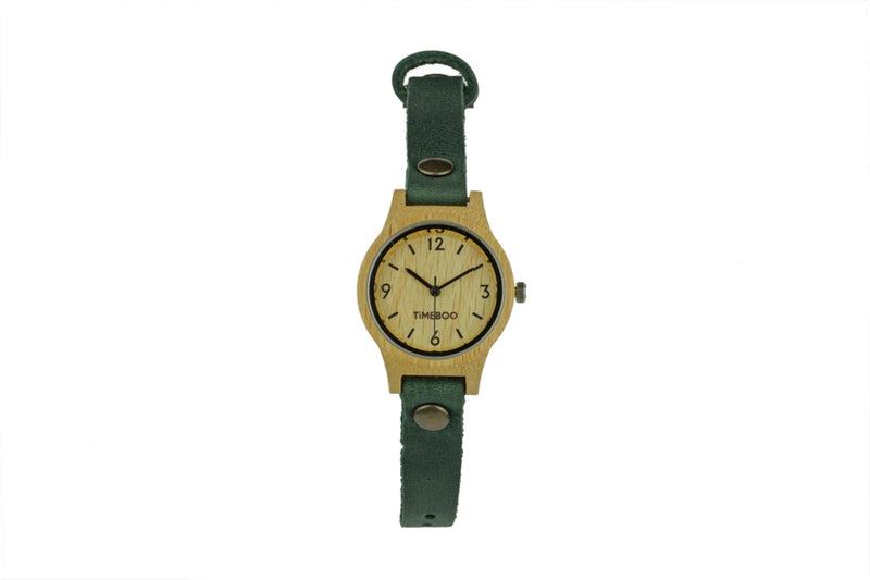 timeboo bamboe horloge urban small forest green