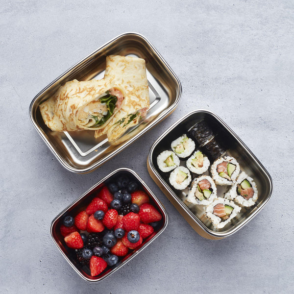 RVS Lunchbox  met bamboedeksel 450 ml