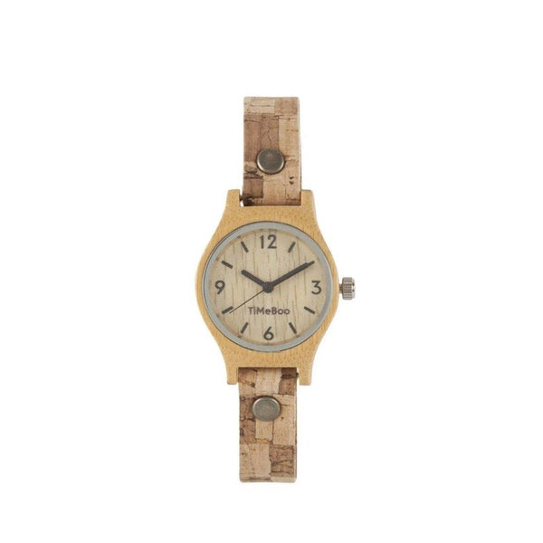 Timeboo bamboe horloge vegan SMALL single kurk blok