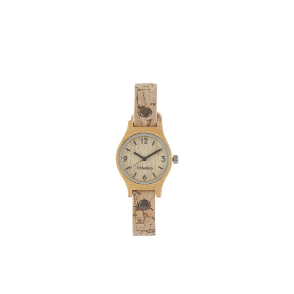 Timeboo bamboe horloge vegan SMALL single kurk streep