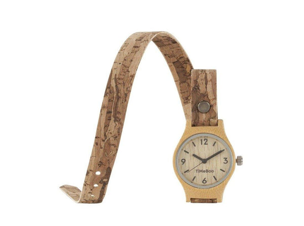 Timeboo bamboe horloge vegan SMALL double kurk naturel donker