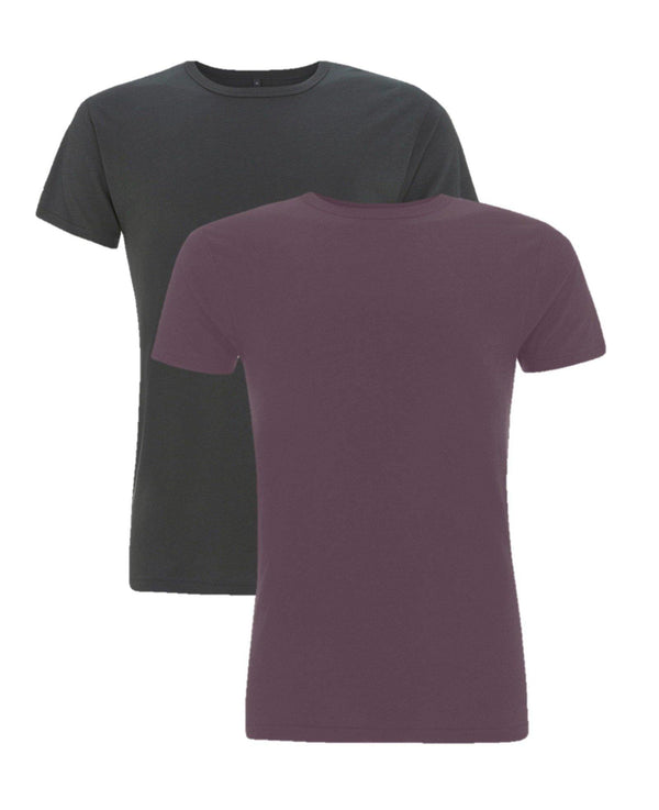 Cayboo heren bamboe shirt 2-pack aubergine-antracietgrijs