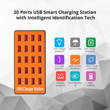 Load image into Gallery viewer, 20 Port USB Charger Rapid Charging Station Desktop Travel Hub iPhone Android
