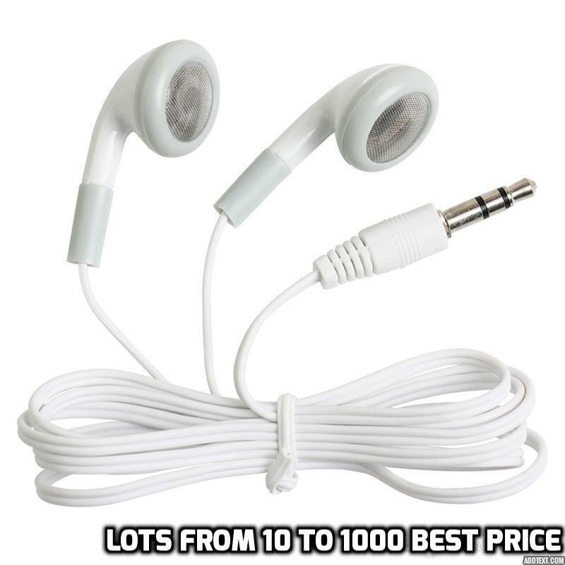 100 Lot Bulk Wholesale White 3.5MM Headphones Earbuds Earphones for iPhone