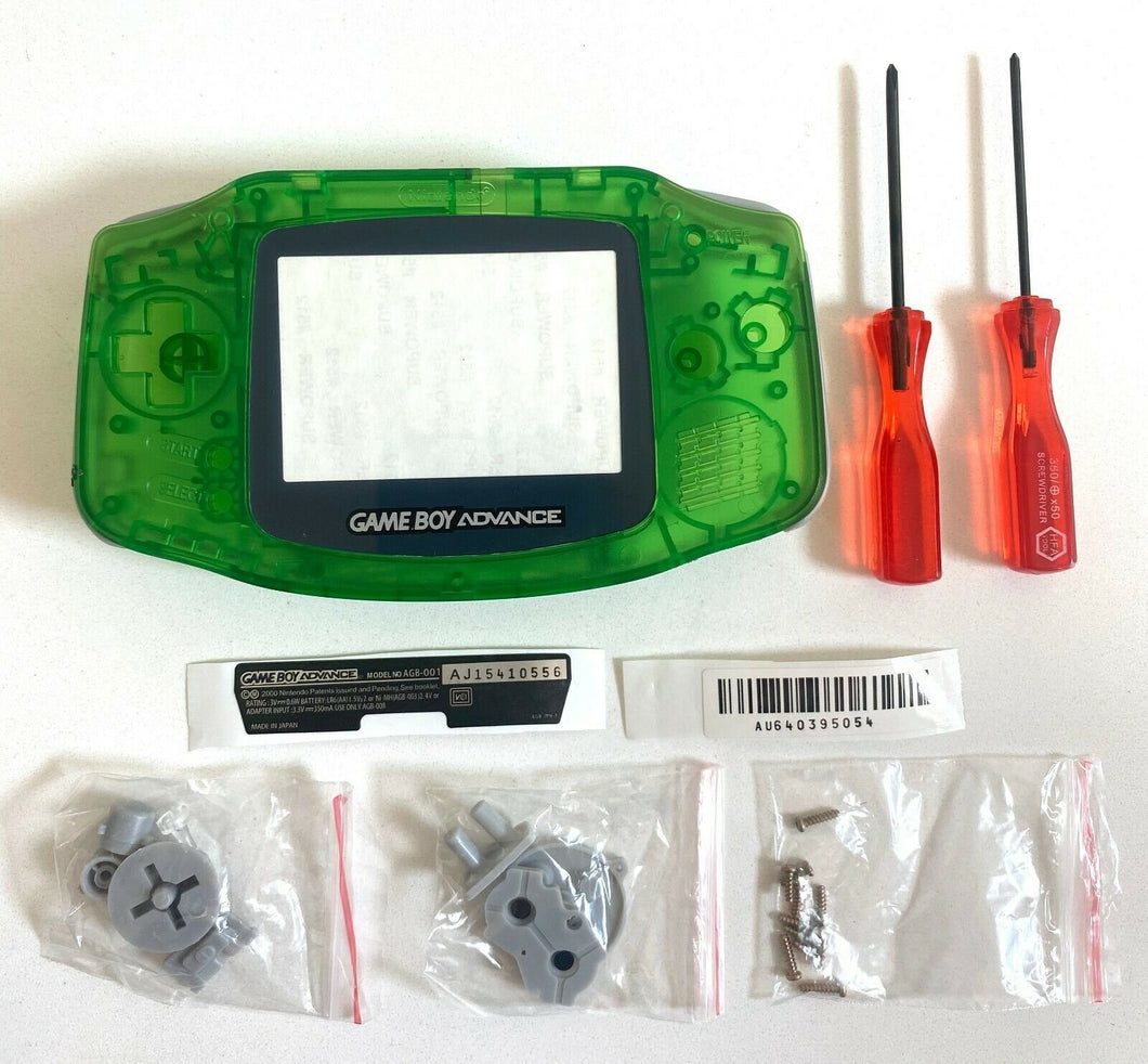 Replacement Housing for Nintendo GBA Game Boy Advance Shell Clear Jungle Green