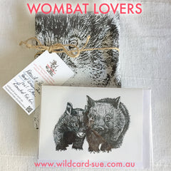 Wombat Lovers tea towel and card with David and Betty Wombat