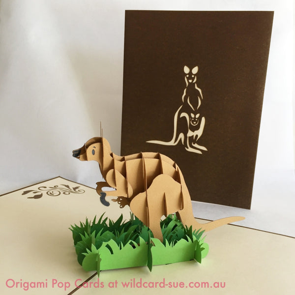 Kangaroo and Joey Origami Pop Card