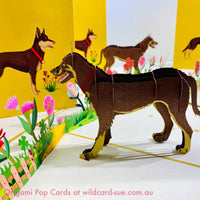Brown Kelpie Origami Pop Card