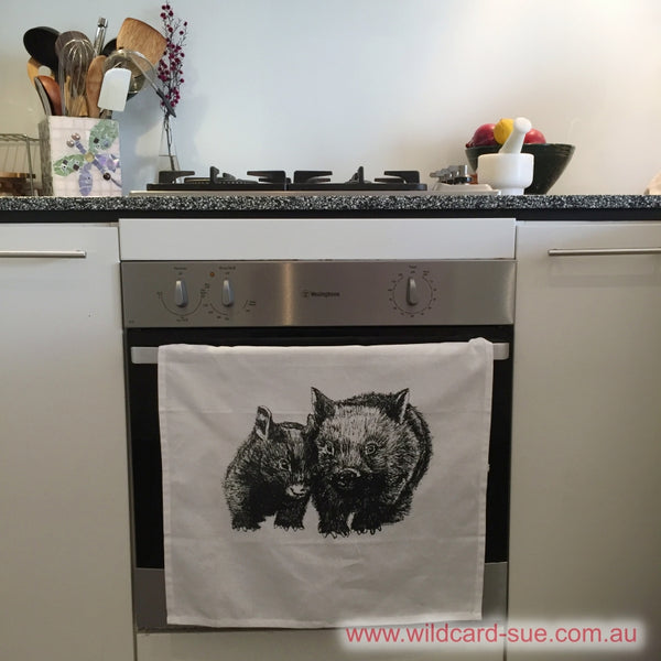 Tea Towel - David and Betty Wombat