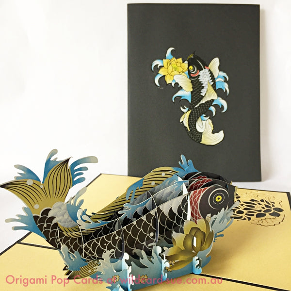 Black Koi Origami Pop Card