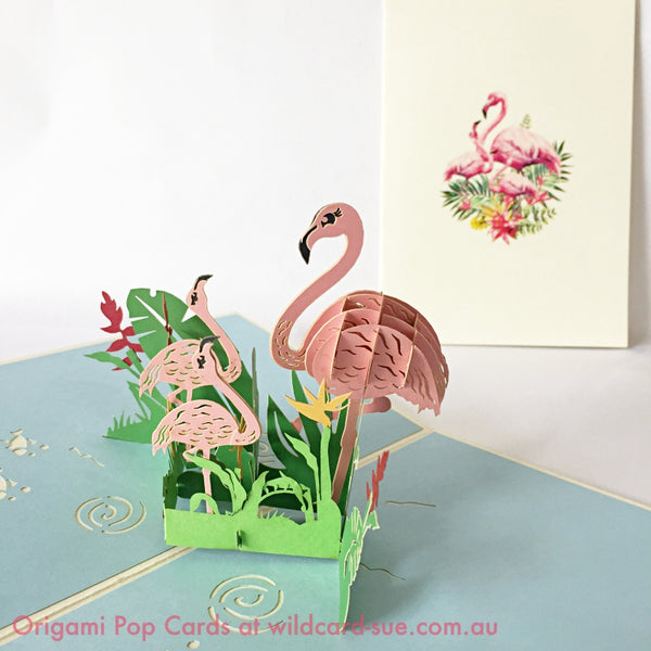Flamingo Family Origami Pop Card