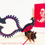Lyre Bird - Red Origami Pop Card