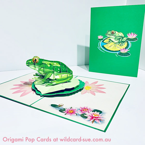 Green Tree Frog Origami Pop Card