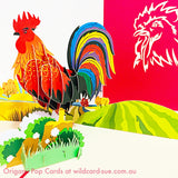 Rooster Origami Pop Card