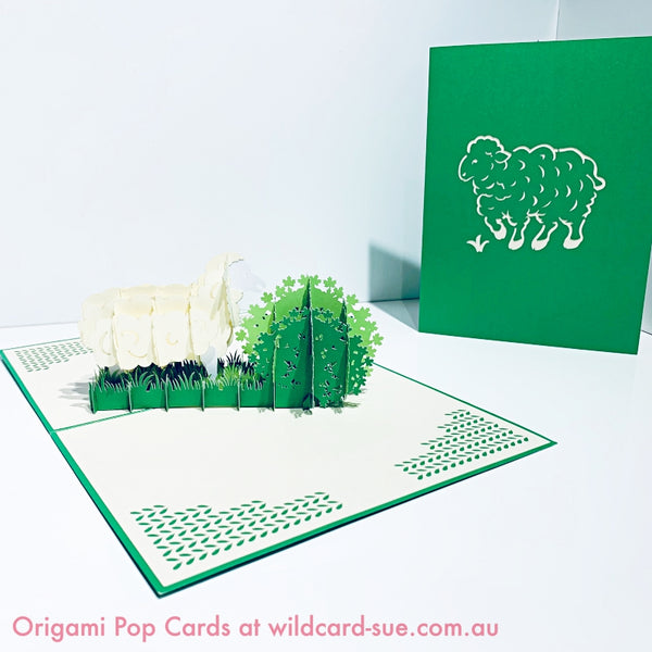 Sheep - white Origami Pop Card