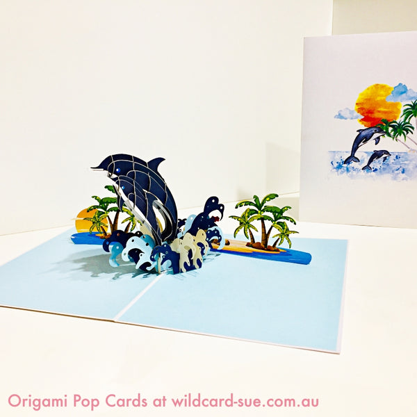 Dolphin family Origami Pop Card