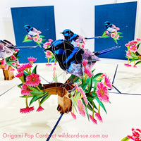 Blue Fairy Wren Origami Pop Card