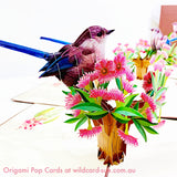 Brown Fairy Wren Origami Pop Card