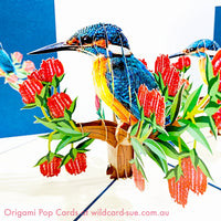 Kingfisher Origami Pop Card