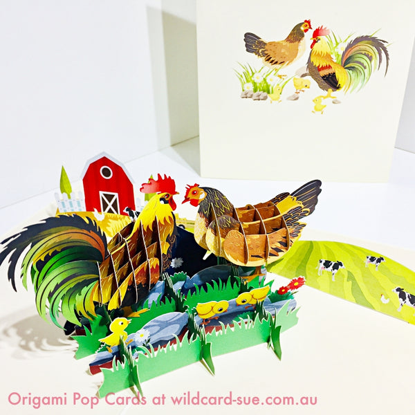 Chook family on the farm - Origami Pop Card