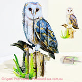 Barn Owl Origami Pop Card