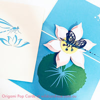 Dragonfly and lotus Origami Pop Card