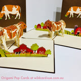 Brown spotted cow Origami Pop Card
